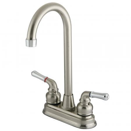 "Kingston Brass GKB497 Magellan 4"" Centerset Bar Faucet, Brushed Nickel/Polished Chrome"