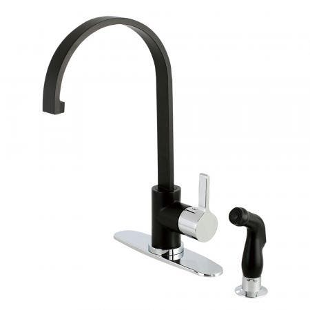 Gourmetier LS8717CTLSP Continental Single-Handle Kitchen Faucet with Side Sprayer, Matte Black/Polished Chrome