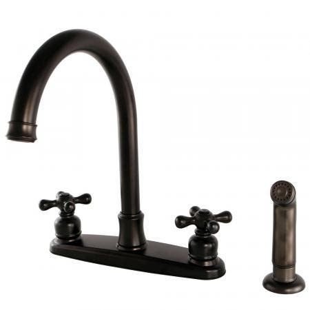 Kingston Brass FB7795AXSP Victorian 8-Inch Centerset Kitchen Faucet with Sprayer, Oil Rubbed Bronze
