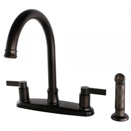 Kingston Brass FB7795NDLSP NuvoFusion 8-Inch Centerset Kitchen Faucet with Sprayer, Oil Rubbed Bronze