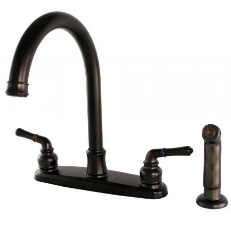 Kingston Brass FB7795NMLSP Naples 8-Inch Centerset Kitchen Faucet with Sprayer, Oil Rubbed Bronze