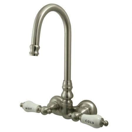 Kingston Brass CC73T8 Vintage 3-3/8-Inch Wall Mount Tub Faucet, Brushed Nickel