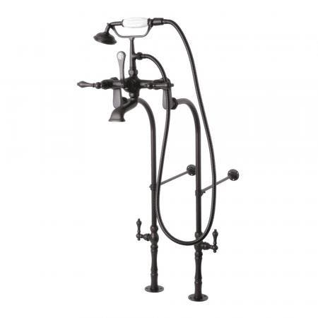 Kingston Brass CCK103T5 Vintage Tub Filler Combo with Lever Handle and Supply Lines, Oil Rubbed Bronze