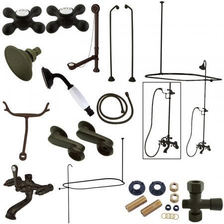 Kingston Brass CCK1185AX Vintage Clawfoot Tub Wall Mount Package with Metal Cross Handles, Oil Rubbed Bronze
