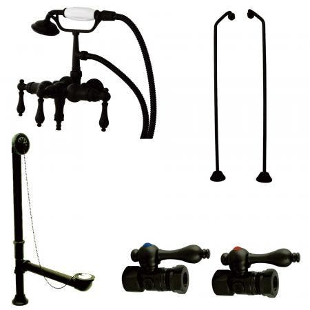Kingston Brass CCK19T5B Vintage Down Spout Wall Mount Clawfoot Faucet Package, Oil Rubbed Bronze
