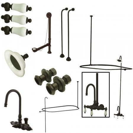 Kingston Brass CCK4145PL Vintage Wall Mount High Rise Clawfoot Tub and Shower Package with Porcelain Lever Handles, Oil Rubbed Bronze