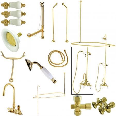 Kingston Brass CCK2182PL Vintage High Rise Goose Neck Package with Porcelain Lever Handles, Polished Brass