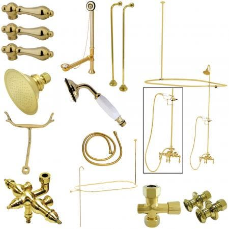Kingston Brass CCK3142AL Vintage Wall Mount Down Spout Clawfoot Tub and Shower Package with Metal Lever Handles, Polished Brass