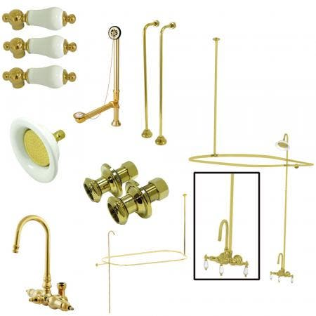 Kingston Brass CCK4142PL Vintage Wall Mount High Rise Clawfoot Tub and Shower Package with Porcelain Lever Handles, Polished Brass