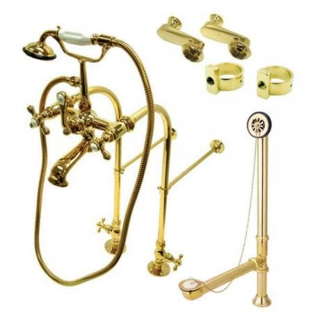 Kingston Brass CCK5102AX Vintage Freestanding Clawfoot Tub Faucet Package with Metal Cross Handles, Polished Brass