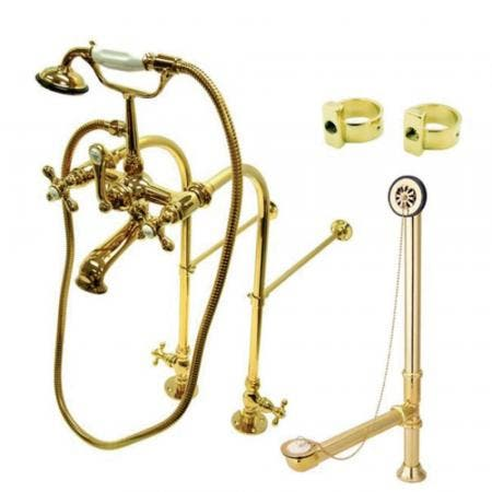 Kingston Brass CCK5172AX Vintage Freestanding Clawfoot Tub Faucet Package with Metal Cross Handles, Polished Brass