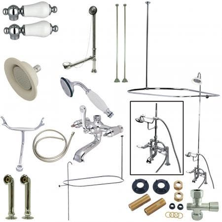 Kingston Brass CCK1171DPL Vintage 7-Inch Center Clawfoot Tub Fixture with Shower Riser Package Combo, Polished Chrome