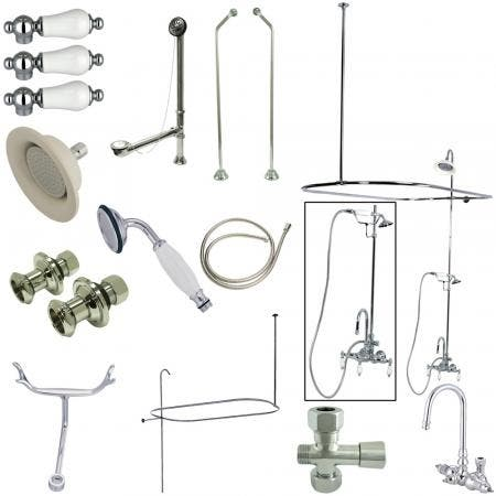 Kingston Brass CCK2181PL Vintage High Rise Gooseneck Clawfoot Tub and Shower Package with Porcelain Lever Handles, Polished Chrome