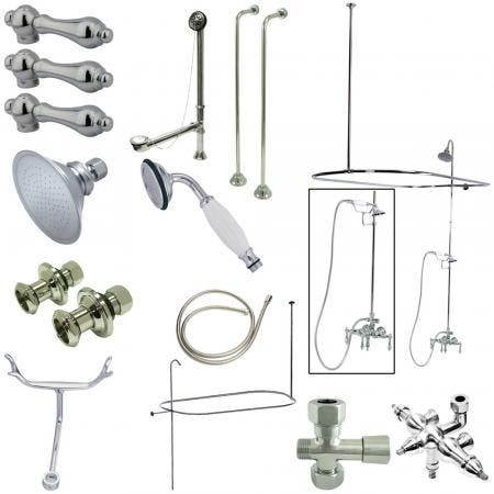 Kingston Brass CCK3141AL Vintage Wall Mount Down Spout Clawfoot Tub and Shower Package with Metal Lever Handles, Polished Chrome