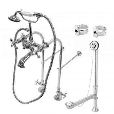 Kingston Brass CCK5171AX Vintage Freestanding Clawfoot Tub Faucet Package with Metal Cross Handles, Polished Chrome
