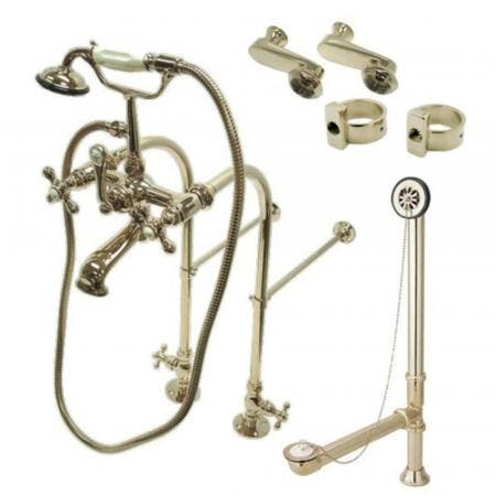 Kingston Brass CCK5108AX Vintage Freestanding Clawfoot Tub Faucet Package with Supply Line, Brushed Nickel