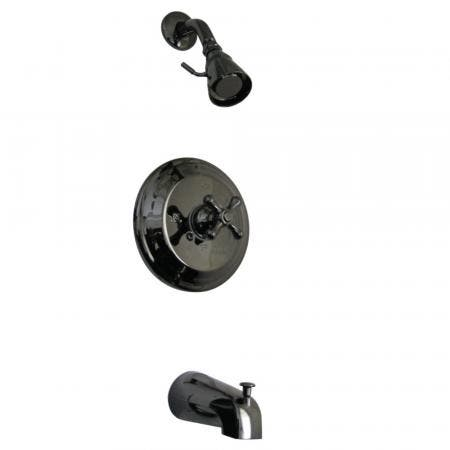 Kingston Brass NB3630AX Water Onyx Pressure Balanced Tub & Shower Faucet with Metal Cross Handle, Black Stainless Steel