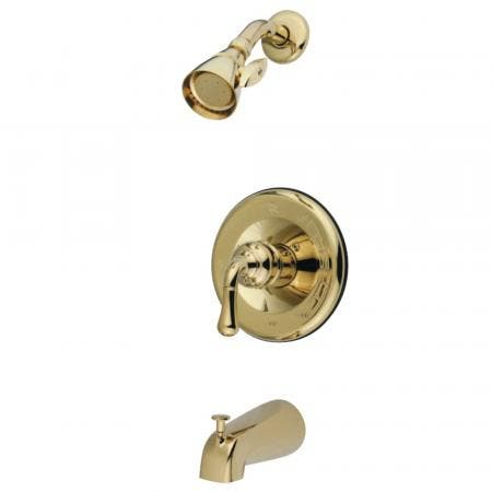 Kingston Brass GKB1632 Water Saving Magellan Single Handle Tub and Shower Faucet with 1.5GPM Showerhead, Polished Brass