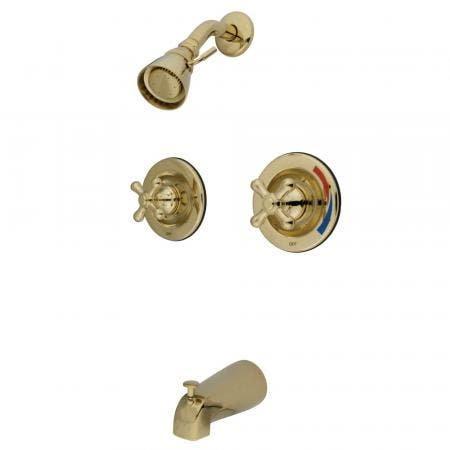 Kingston Brass GKB662AX Water Saving Vintage Tub & Shower Faucet with Pressure Balanced Valve, Polished Brass