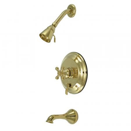 Kingston Brass KB36320AX Restoration Tub & Shower Faucet, Polished Brass