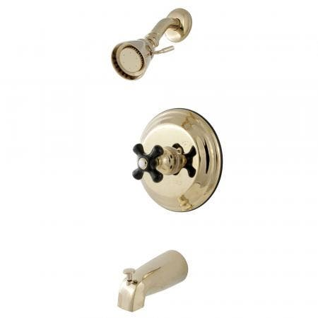 Kingston Brass KB3632PKX Duchess Tub and Shower Faucet with Cross Handle, Polished Brass