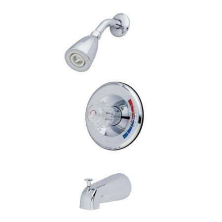 Kingston Brass GKB681 Water Saving Chatham Tub & Shower Faucet with Single Acrylic Handle, Polished Chrome