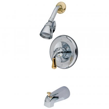 Kingston Brass GKB1634 Water Saving Magellan Single-Handle Tub and Shower Faucet with 1.5GPM Showerhead, Polished Chrome/Polished Brass