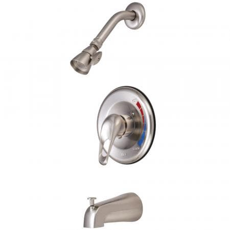 Kingston Brass GKB698 Water Saving Chatham Tub & Shower Faucet with 1.5GPM Showerhead and Single Loop Handle, Brushed Nickel