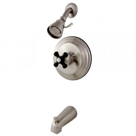 Kingston Brass KB3638PKX Duchess Tub and Shower Faucet with Cross Handle, Brushed Nickel