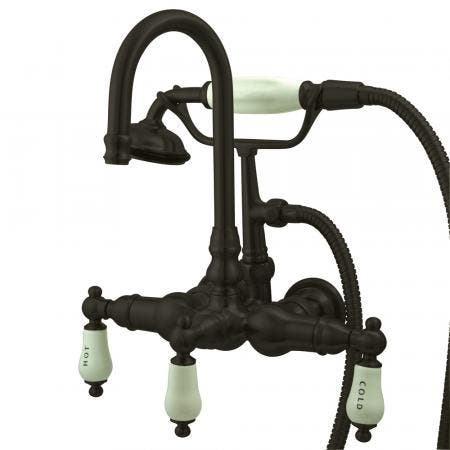 """Kingston Brass CC9T5 Vintage 3-3/8"""" Wall Tub Filler with Hand shower, Oil Rubbed Bronze"""