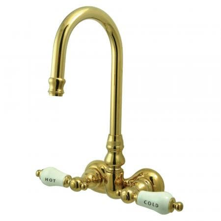 "Kingston Brass CC73T2 Vintage 3-3/8"" Wall Mount Tub Filler, Polished Brass"