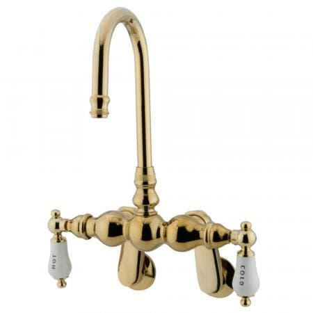 Kingston Brass CC85T2 Vintage Wall Mount Tub Filler with Adjustable Centers, Polished Brass