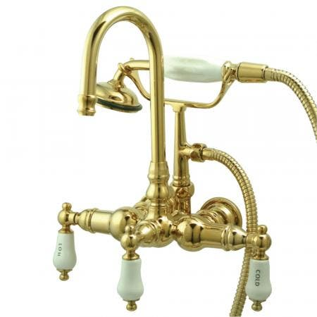 """Kingston Brass CC9T2 Vintage 3-3/8"""" Wall Tub Filler with Hand shower, Polished Brass"""