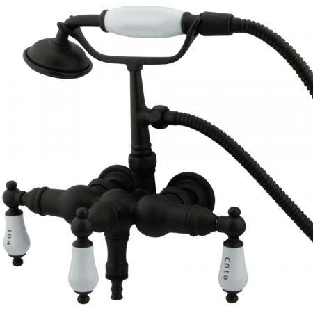 """Kingston Brass CC21T5 Vintage 3-3/8"""" Wall Mount Tub Filler with Hand Shower, Oil Rubbed Bronze"""