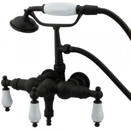 """Kingston Brass CC23T5 Vintage 3-3/8"""" Wall Mount Tub Filler with Hand Shower, Oil Rubbed Bronze"""