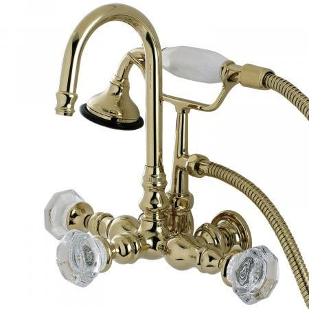 Aqua Vintage AE7T2WCL Celebrity Wall Mount Clawfoot Tub Faucet, Polished Brass