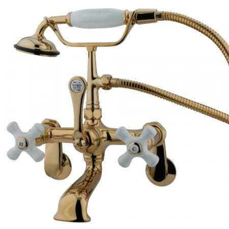 Kingston Brass CC59T2 Vintage Wall Mount Tub Filler with Adjustable Centers, Polished Brass