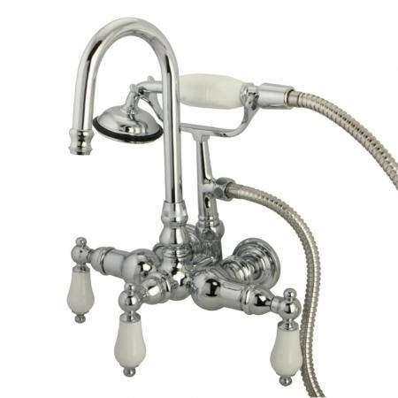 """Kingston Brass CC12T1 Vintage 3-3/8"""" Wall Tub Filler with Hand Shower, Polished Chrome"""