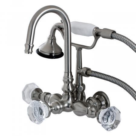 Aqua Vintage AE7T8WCL Celebrity Wall Mount Clawfoot Tub Faucet, Brushed Nickel