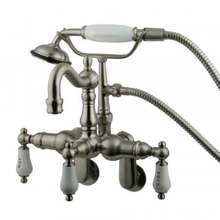 Kingston Brass CC1303T8 Vintage Adjustable Center Wall Mount Tub Faucet with Hand Shower, Brushed Nickel