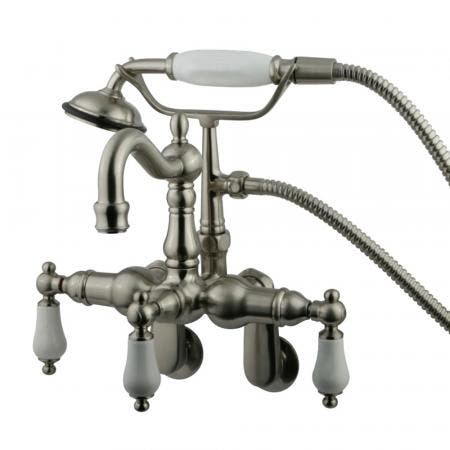Kingston Brass CC1305T8 Vintage Adjustable Center Wall Mount Tub Faucet with Hand Shower, Brushed Nickel
