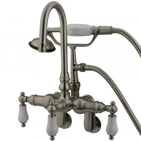 Kingston Brass CC305T8 Vintage Adjustable Center Wall Mount Tub Faucet, Brushed Nickel