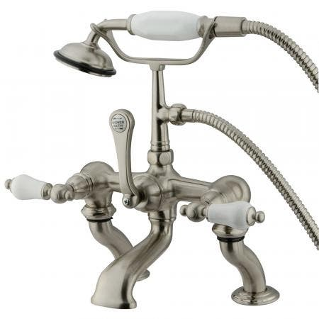 Kingston Brass CC411T8 Vintage 7-Inch Deck Mount Tub Faucet with Hand Shower, Brushed Nickel
