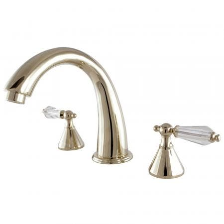 Kingston Brass KS2362WLL Roman Tub Filler Bath Tub Faucet Faucet With Crystal Lever Handle, Polished Brass