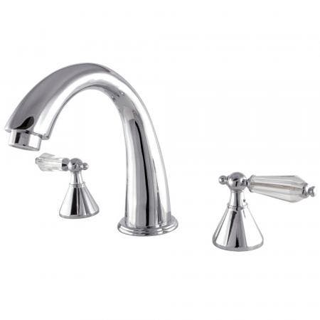 Kingston Brass KS2361WLL Roman Tub Filler Bath Tub Faucet Faucet With Crystal Lever Handle, Polished Chrome