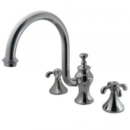 Kingston Brass KS7341TX French Country Roman Tub Filler with High Rise Spout, CP
