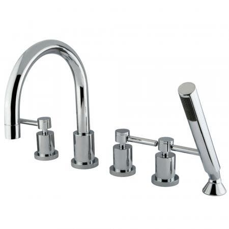Kingston Brass KS83215DL Concord 5 Piece Roman Tub Filler Faucet with Hand Shower, Polished Chrome