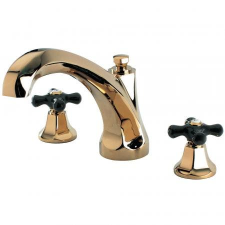Kingston Brass KS4322PKX Duchess Roman Tub Filler with Cross Handle, Polished Chrome/Polished Brass