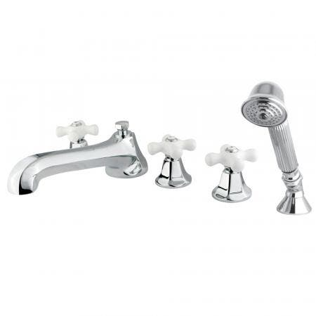 Kingston Brass KS43015PX Roman 5-Piece Roman Tub Filler with Hand Shower, Polished Chrome