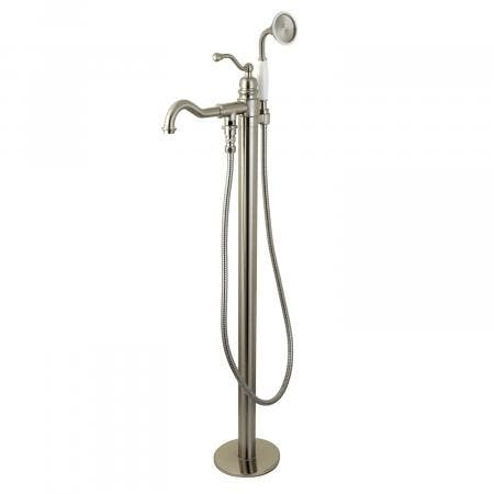 Kingston Brass KS7138ABL English Country Single Handle Freestanding Roman Tub Filler with Hand Shower, Brushed Nickel